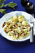 Mushroom and onion salad with dill potatoes