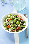Broad bean salad with fried celeriac