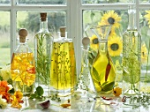 Various herbal oils in bottles on a window sill