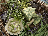 Various types of sage, sage butter and sage cheese