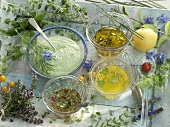 Three different vinaigrettes and a yogurt and dill dressing