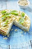 Cream cheese cake with pesto and pine nuts