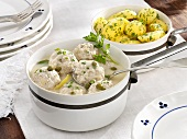 Königsberger Klopse (meatballs in a white sauce with capers) with parsley potatoes