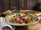 Senner-Pfanne (pasta dish with ham, beetroot, vegetables and fried onions)