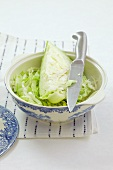 White cabbage, partially chopped