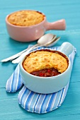 Bean chilli with a cornbread topping
