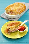 Ham and cheese topped with potato dough