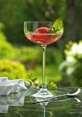 Champagne with strawberry sorbet