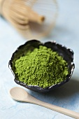 Matcha tea powder in a bowl