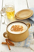 Polish beer soup with cream and cinnamon