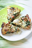 Spinach tart with bacon and cheese