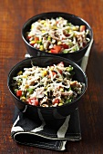 Wild rice salad with sprouts and chicken