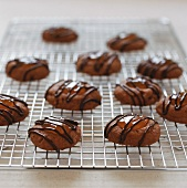 Sacher-style chocolate biscuits on a wire rack