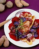 Potato and beetroot salad with a trio of old potatoes
