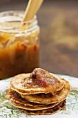 Pancakes with peach chutney