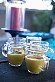 Fish soup in glass cups
