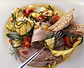 Cold roast veal with marinated courgettes