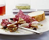 Radicchio with fried rabbit fillet