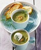 Cucumber soup with shrimps