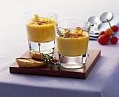 Cream of potato soup with slices of lomo