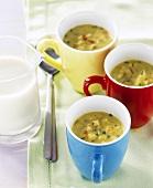 Curried lentil soup with soya milk