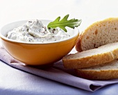Soft cheese dip with rocket