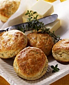 Herb scones with herbs and butter