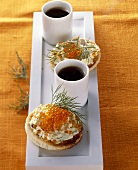 Toasted bun with butter and trout caviar
