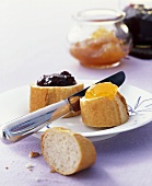 Baguette slices with apricot and blackcurrant jam