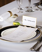 Elegant place-setting with menu