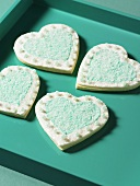Heart-shaped biscuits with sanding sugar