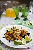 Barbecued prawn skewers with lime