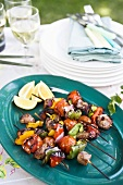 Barbecued lamb and pepper kebabs