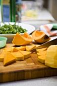 Cutting up a butternut squash