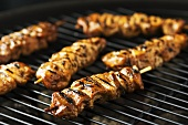 Meat kebabs on a barbecue