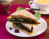 Cheese, chutney and corn salad sandwich
