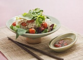 Glass noodle salad with chicken, tomatoes and herbs