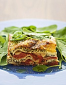 Vegetable and ricotta lasagne with spinach salad