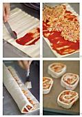 Making vegetable pizza pinwheels