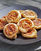 Vegetable pizza pinwheels on a plate