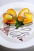 Heart-shaped peach fruit jellies