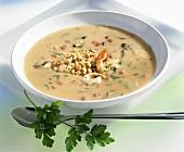 Peanut soup with prawns