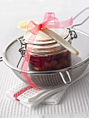 Cherry compote with peach liqueur