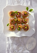 Luncheon meat canapés