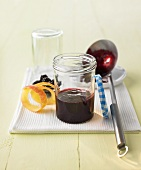 Blackberry, elderberry and apple jelly in jar