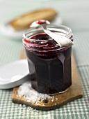 Blackcurrant jam in a jar
