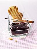 Cherry jam in glass dish
