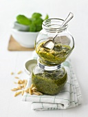 Two jars of home-made Pesto Genovese