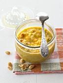 Orange and leek relish with peanuts