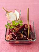 Pickled beetroot in glass dish